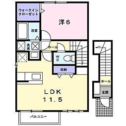 愛知県愛知郡東郷町大字諸輪字下市の賃貸アパートの間取り