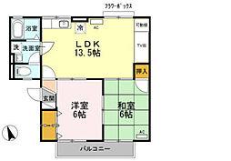 セジュール昴 B[2階]の間取り