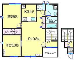 ラ・ポルト2[2階]の間取り