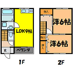 [テラスハウス] 栃木県小山市東城南5丁目 の賃貸【/】の間取り