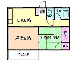 大阪府豊中市北桜塚4丁目の賃貸アパートの間取り