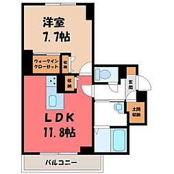 東武宇都宮線 東武宇都宮駅 徒歩14分の賃貸マンション 1階1LDKの間取り