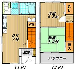 [一戸建] 兵庫県神戸市長田区房王寺町4丁目 の賃貸【/】の間取り