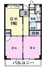 Osaka Metro御堂筋線 なかもず駅 徒歩7分の賃貸マンション 2階2DKの間取り