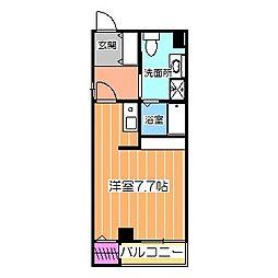 Osaka Metro御堂筋線 なかもず駅 徒歩14分の賃貸マンション 2階ワンルームの間取り