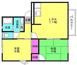 兵庫県高砂市米田町古新の賃貸アパートの間取り