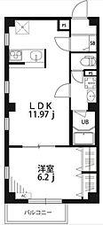 東急東横線 都立大学駅 徒歩9分の賃貸マンション 4階1LDKの間取り