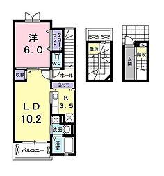 千葉県市川市欠真間2丁目の賃貸アパートの間取り