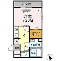 名鉄名古屋本線 東岡崎駅 徒歩5分の賃貸アパート 3階1Kの間取り