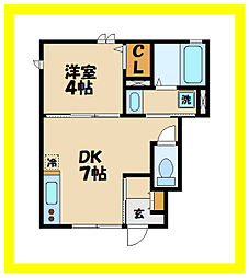 JR南武線 津田山駅 徒歩7分の賃貸アパート 1階1DKの間取り