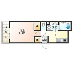 阪神なんば線 千鳥橋駅 徒歩13分の賃貸アパート 3階1Kの間取り