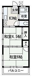 埼玉県朝霞市東弁財2丁目の賃貸アパートの間取り