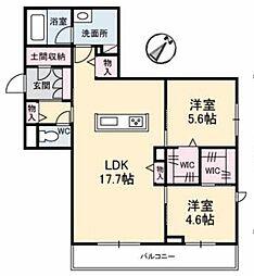 アントゥール B 3階2LDKの間取り
