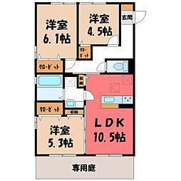(仮)D-room野木町友沼 B 1階3LDKの間取り