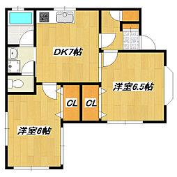 東京都江戸川区西小岩5丁目の賃貸アパートの間取り