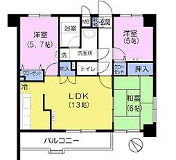 エクセルコート松原[4階]の間取り
