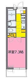 東武野田線 大宮公園駅 徒歩6分の賃貸マンション 2階1Kの間取り