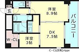 ラナップスクエア大阪城北 8階2DKの間取り