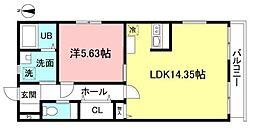 (仮)府中市若松町二丁目新築計画 3階1LDKの間取り
