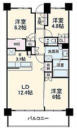 グランカーサ北浦和 地下4階3LDKの間取り