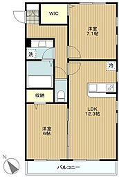 神奈川県大和市下鶴間の賃貸アパートの間取り