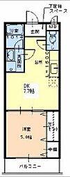 南海高野線 北野田駅 徒歩15分の賃貸アパート 2階1DKの間取り