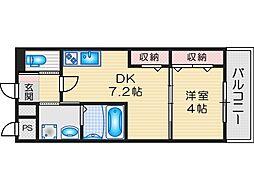 SUNRISE STAR 2階1DKの間取り