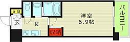 プロシード大阪イーストアクアラフォンテ 3階1Kの間取り