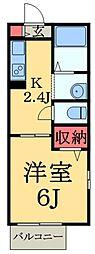 千葉県千葉市若葉区西都賀4丁目の賃貸アパートの間取り