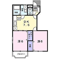 神奈川県綾瀬市早川城山5丁目の賃貸アパートの間取り