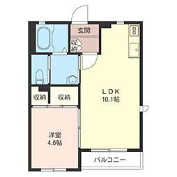 chibana 2階1LDKの間取り