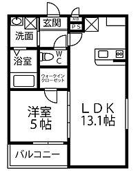 フジパレス草尾II 2階1LDKの間取り