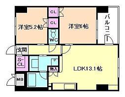 シティエール東梅田I[2階]の間取り