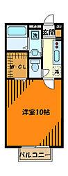 JR横浜線 相原駅 徒歩9分の賃貸アパート 2階1Kの間取り