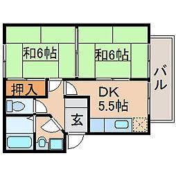 滋賀県長浜市南高田町の賃貸アパートの間取り