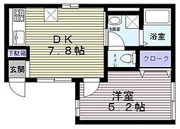 クラインヴァルト本駒込3丁目 1階1DKの間取り