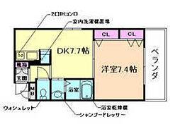大阪府豊中市庄内東町1丁目の賃貸マンションの間取り