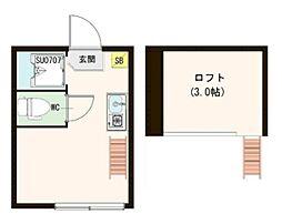 メゾン・プーラ豊島 1階ワンルームの間取り
