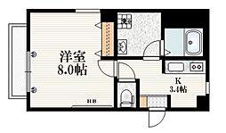 東京メトロ有楽町線 千川駅 徒歩6分の賃貸マンション 2階1Kの間取り