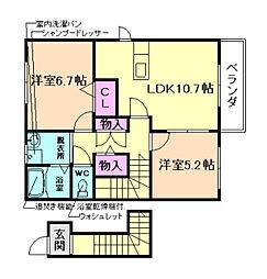 グレイスフル熊野[2階]の間取り