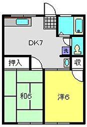 神奈川県横浜市磯子区栗木1丁目の賃貸アパートの間取り