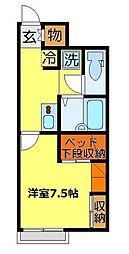 東武越生線 川角駅 徒歩24分の賃貸アパート 1階1Kの間取り