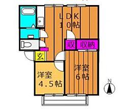 メゾンセンチュリー B[2階]の間取り