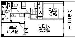 ロイヤルメドゥ香里園[7階]の間取り
