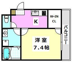 阪急京都本線 正雀駅 徒歩10分の賃貸アパート 1階1Kの間取り