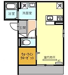 (仮)D-room戸田市新曽 3階ワンルームの間取り