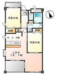 愛知県みよし市三好町下畷の賃貸マンションの間取り
