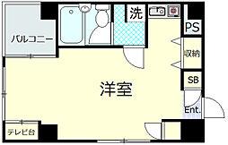 富美第一ビル 6階ワンルームの間取り