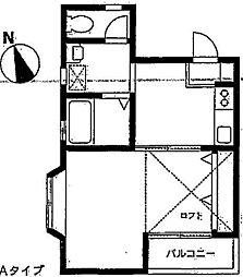 神奈川県横浜市青葉区新石川1丁目の賃貸アパートの間取り