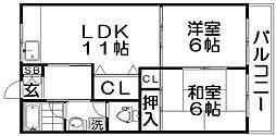 香里ニューハイツNO1[3階]の間取り